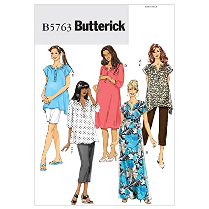 f353d282c47a8 Amazon.com: Butterick Patterns 5763 Misses' Maternity Top, Dress, Belt,  Shorts and Pants, Sizes 8-10-12-14-16: Arts, Crafts & Sewing