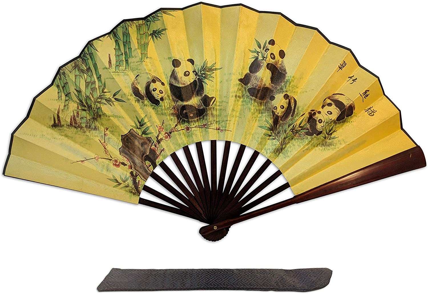 C&K Solutions Folding Hand Fan Chinese Gifts- Panda Large Premium Quality Handheld Japanese Fans for Men and Women