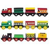 Playbees Set de Trenes Madera 12 Unidades, Vagones y Locomotoras Compatibles con Pistas de Tren Madera Otras Marcas, Set de Trenes Magnetico