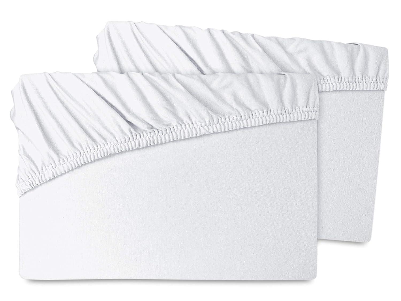 Doppelpack - Biber-Spannbetttücher - schwere Qualität aus 100% Baumwolle - für Wasser- und Boxspringbetten - Steghöhe ca. 35 cm - in 7 Farben und in 3 Größen, 140 x 200 cm, weiß