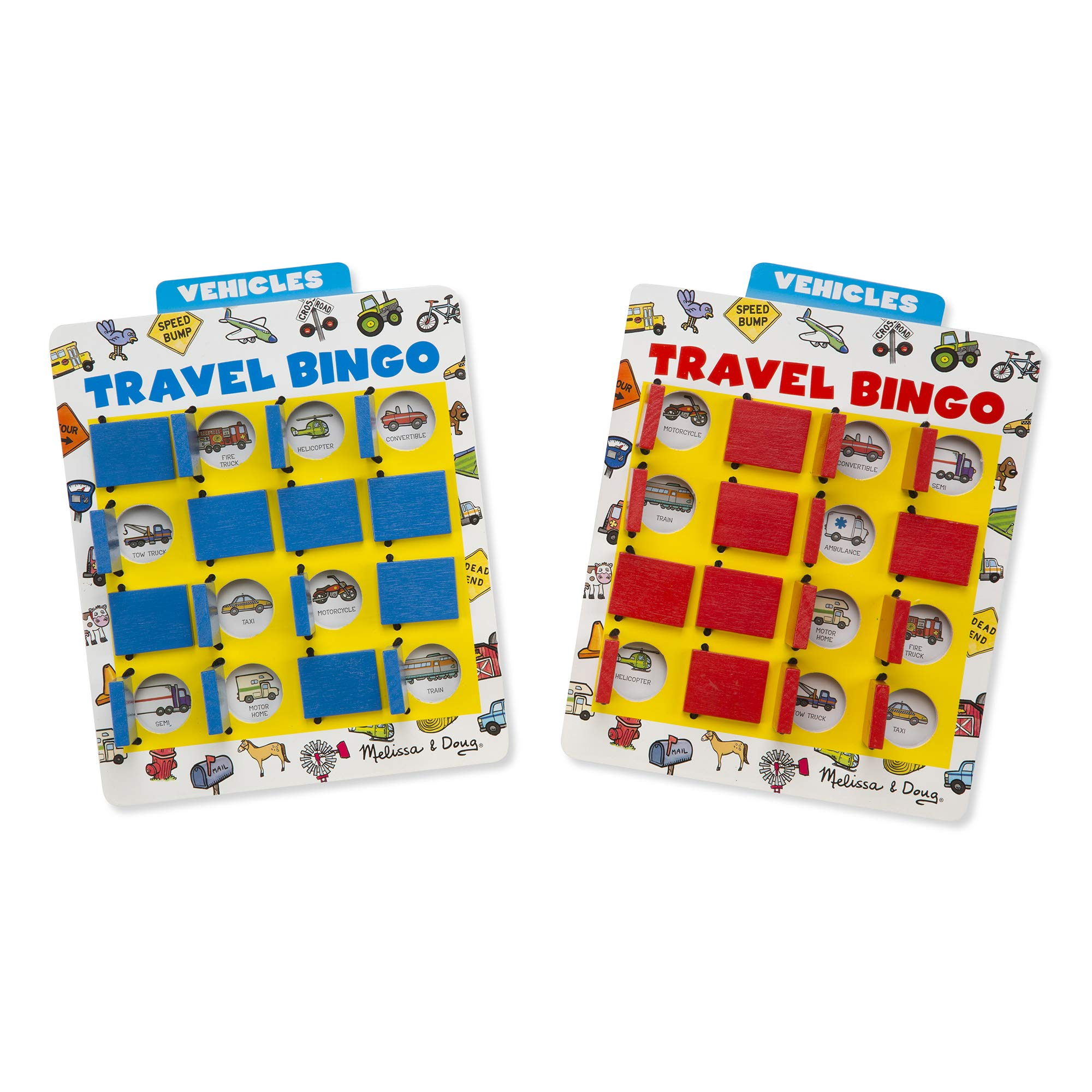 Melissa & Doug Flip to Win Travel Bingo Game - 2 Wooden Game Boards, 4 Double-Sided Cards by Melissa & Doug