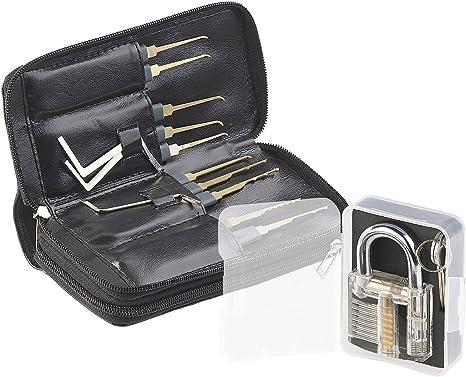 Bestcool Dietrich Set 12 St/ück Lock Picking Set mit 6 Transparenttem Vorh/ängeschloss Dietrichen Kit f/ür Anf/änger und Professionelle Lockpicker