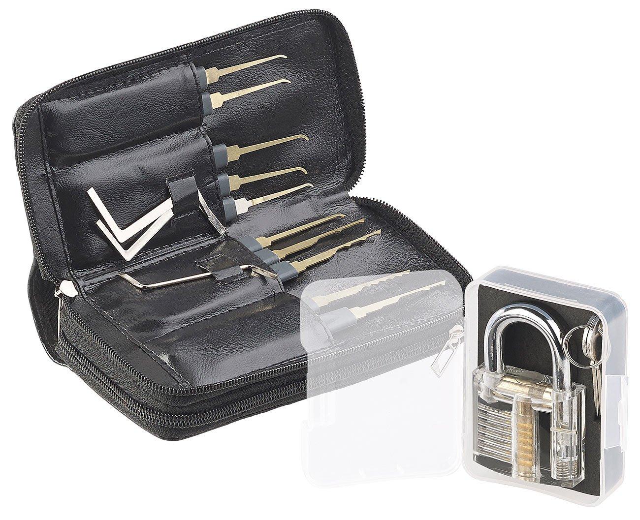 AGT Lockpick: Profi-Lockpicking-Set mit 30-teiliger Dietrich-Tasche & Ü bungs-Schloss (Schlossö ffner)