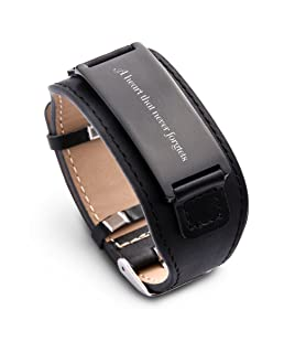 Personalize Custom Free Engraved Brown Black Leather Stainless Steel Bracelet Cuff For Men Women (Black leather & Black)