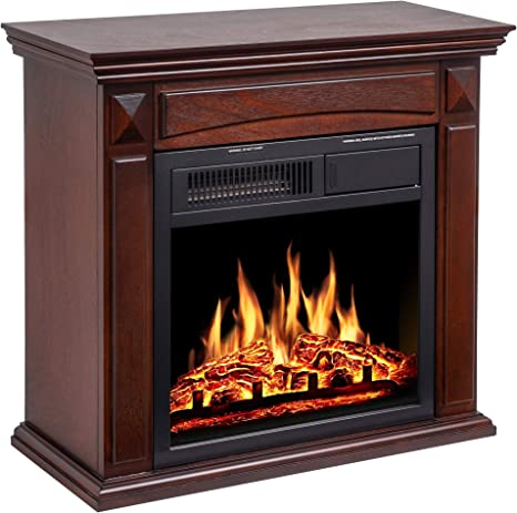 Jamfly 26 Mantel Electric Fireplace Heater Small Freestanding Infrared Quartz Fireplace Stove Heater W Log Hearth Wood Surround Firebox Adjustable Led Flame Remote Control 750w 1500w Brown Home Kitchen