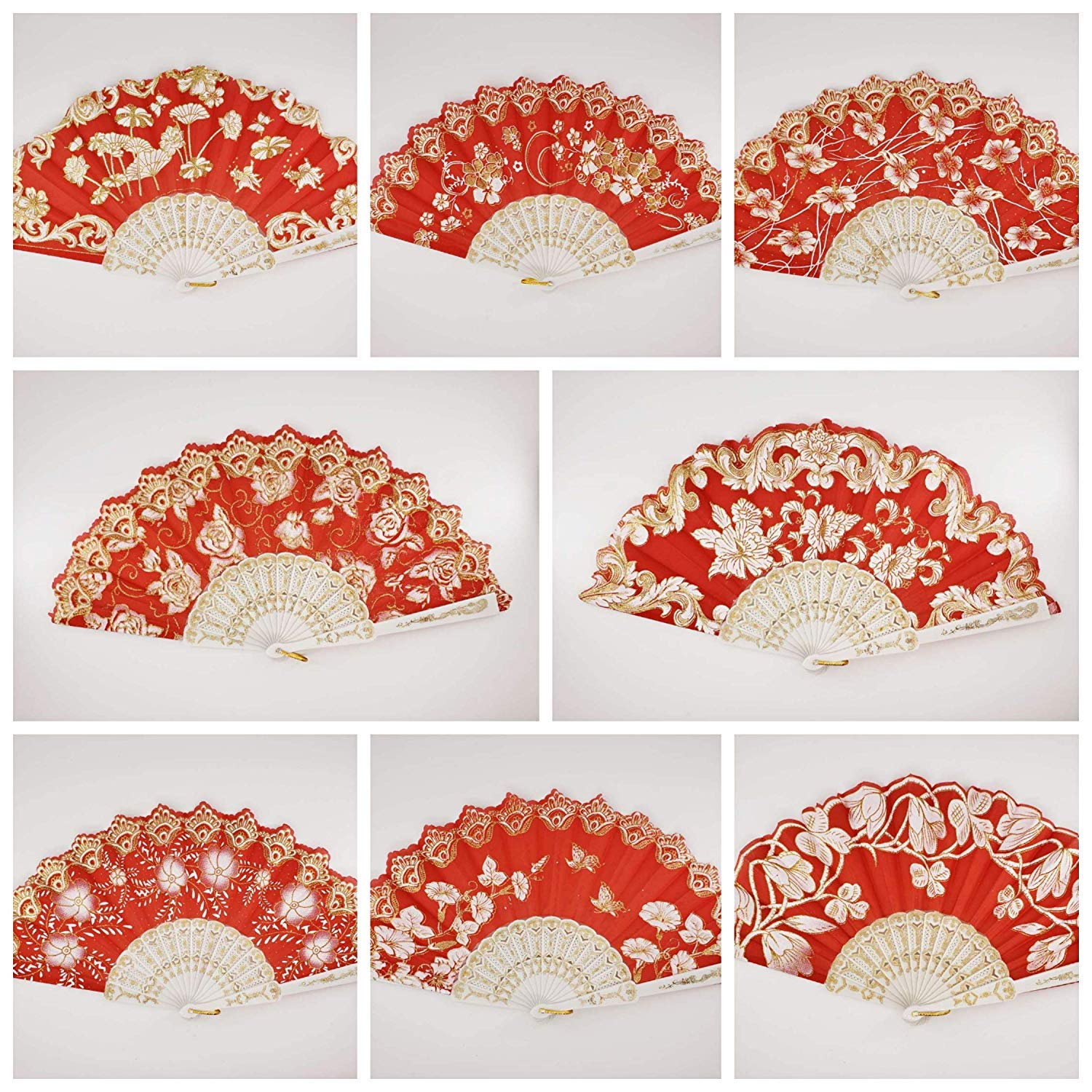 12 Pc Mix Spanish Style Red and Gold Glitter Floral Pattern Folding Fan for Wedding Party Decor/Sweet 15 favors/Dancing Hand Fan/Table Setting/Wall Decoration/Out Door Wedding/Wedding Gift