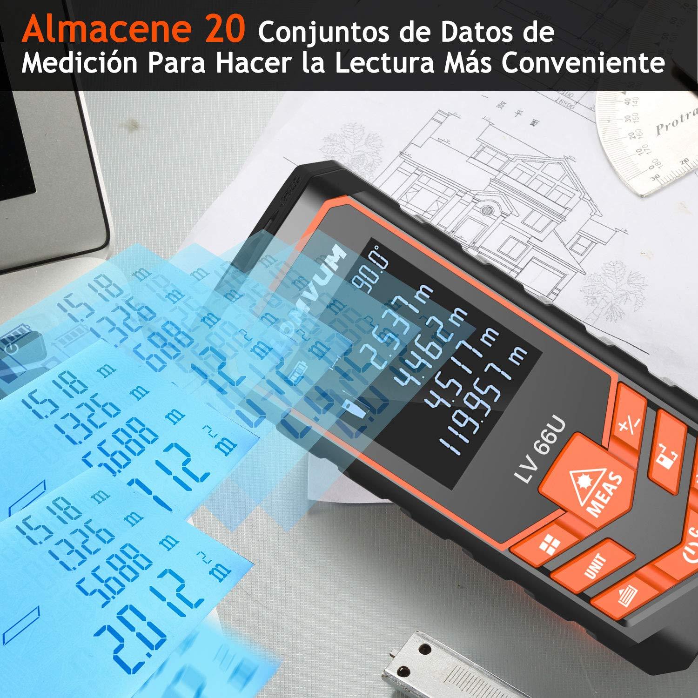 Telémetros láser,LOMVUM 120M Medidor de Distancias Digital,Metro Láser con precisión 1mm, Niveles de Electronico