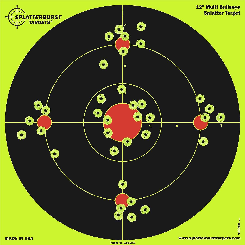 Paquete de 25-30,5 cm Splatterburst Multi Bullseye Objetivo de Disparo - Vea fácilmente los Brillantes Agujeros de Bala Fluorescentes - Excelente para Armas, Rifles, Pistolas y Pistolas de Aire.