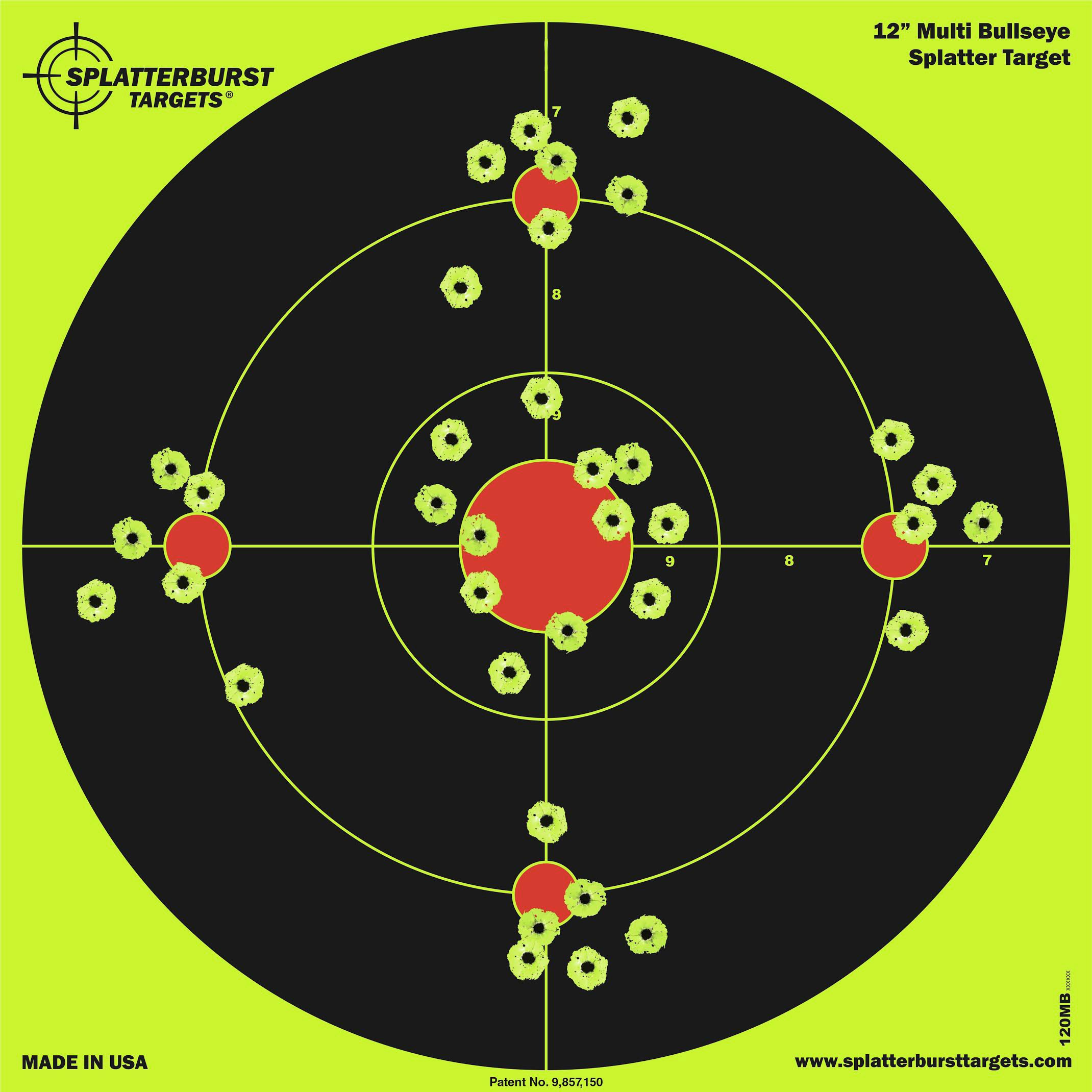 Splatterburst Targets - 12 inch Multi-Bullseye Reactive Shooting Target - Shots Burst Bright Fluorescent Yellow Upon Impact - Gun - Rifle - Pistol - AirSoft - BB Gun - Pellet Gun - Air Rifle (10 Pack)