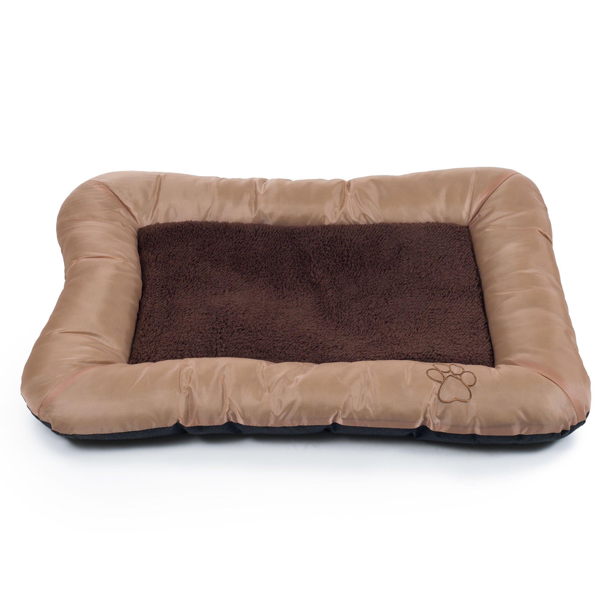 PETMAKER Plush Cozy Pet Crate/Pet Bed, Large, Tan