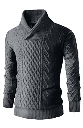 Mens Cali Holi Cable Knit Shawl Collar Pullover Sweater Dark Grey At