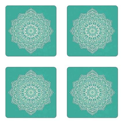 Amazon.com: Lunarable Mandala Coaster Set of Four, Eastern ...
