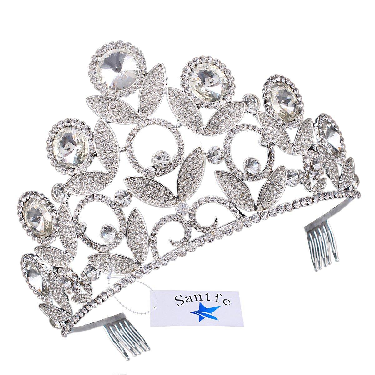 Santfe Tiara con peineta Corona de Cabello Tocado de Novia Diamantes de Imitación Decoración para Boda