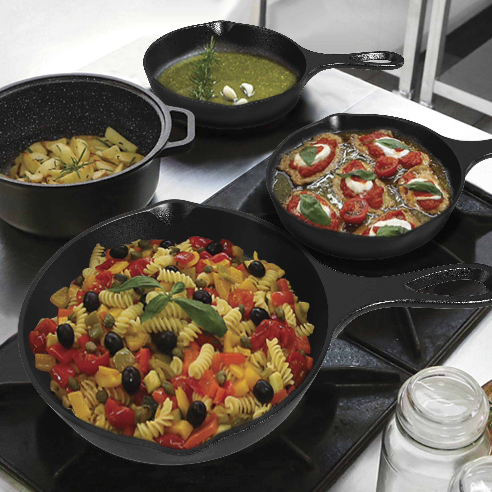 Pre-Seasoned Cast Iron Skillet 3 Piece Set (10, 8 inch & 6 inch Pans) Best Heavy Duty Professional Restaurant Chef Quality Pre Seasoned Pan Cookware For Frying, Saute, Cooking by Amsha Kitchen (Image #5)