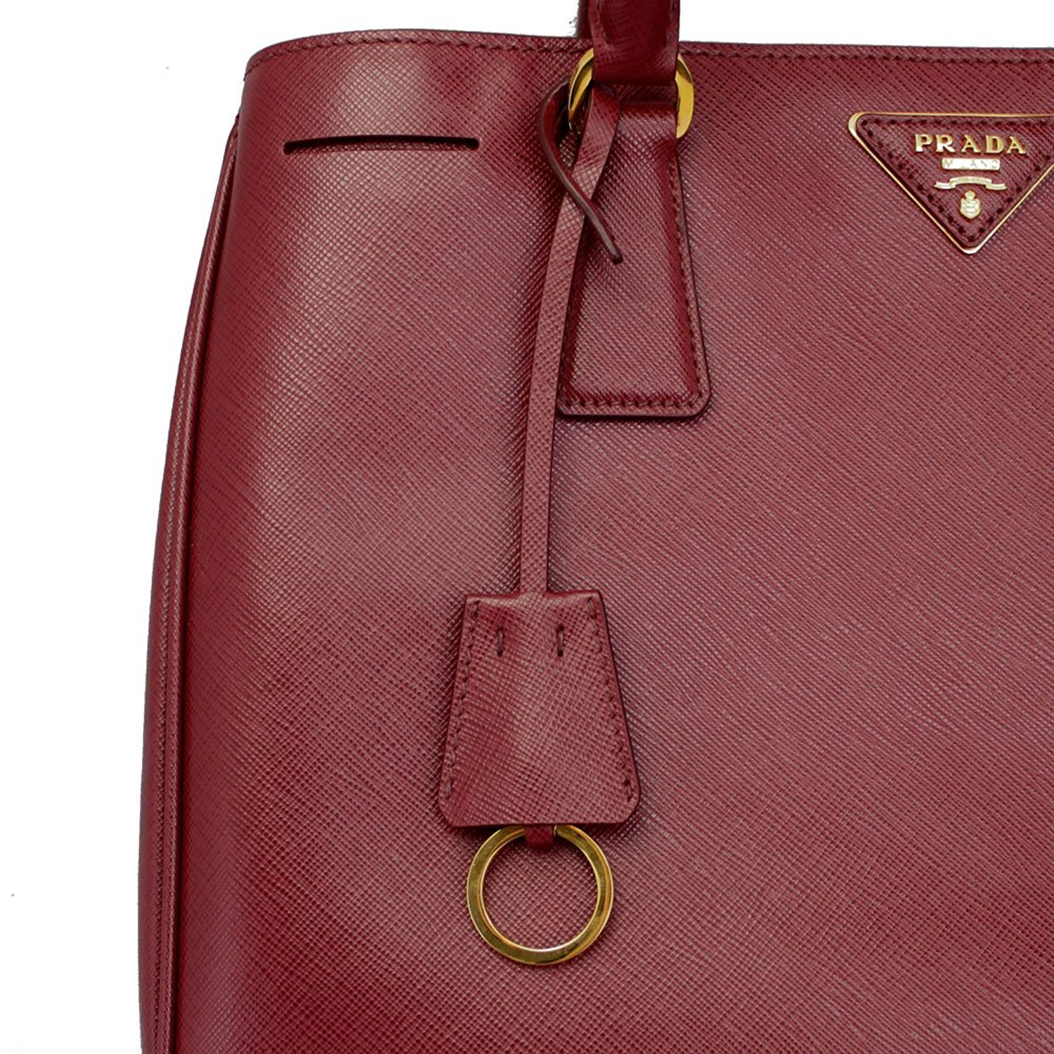 e7830fcfe473 Amazon.com: Prada Women's Red Leather Tote Bag With Strap BN1874 Cerise:  Clothing