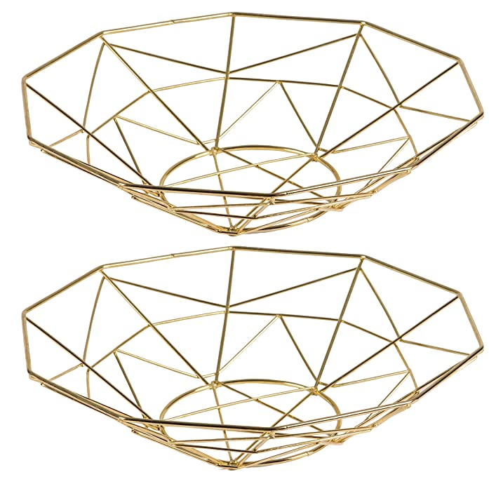 Wire Fruit Basket - 2-Piece Decorative Fruit Bowl with Geometric Design, Metallic Gold Modern Style Countertop Centerpiece, 11.2 x 11.9 x 2.6 Inches