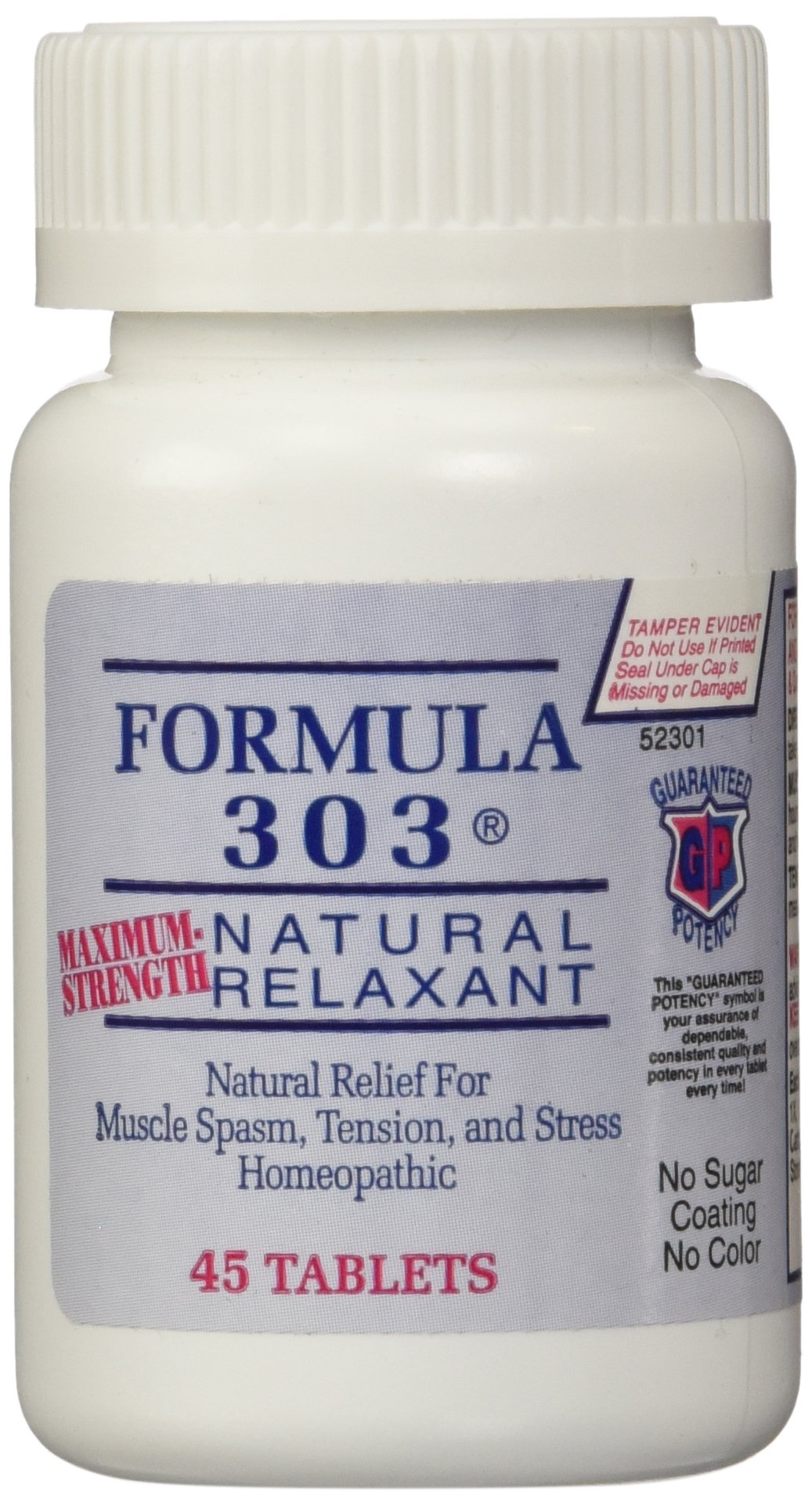 Dee Cee Labs Formula 303 Maximum Strength Natural Relaxant Tablets, 45 Tablets by DEE CEE LABORATORIES