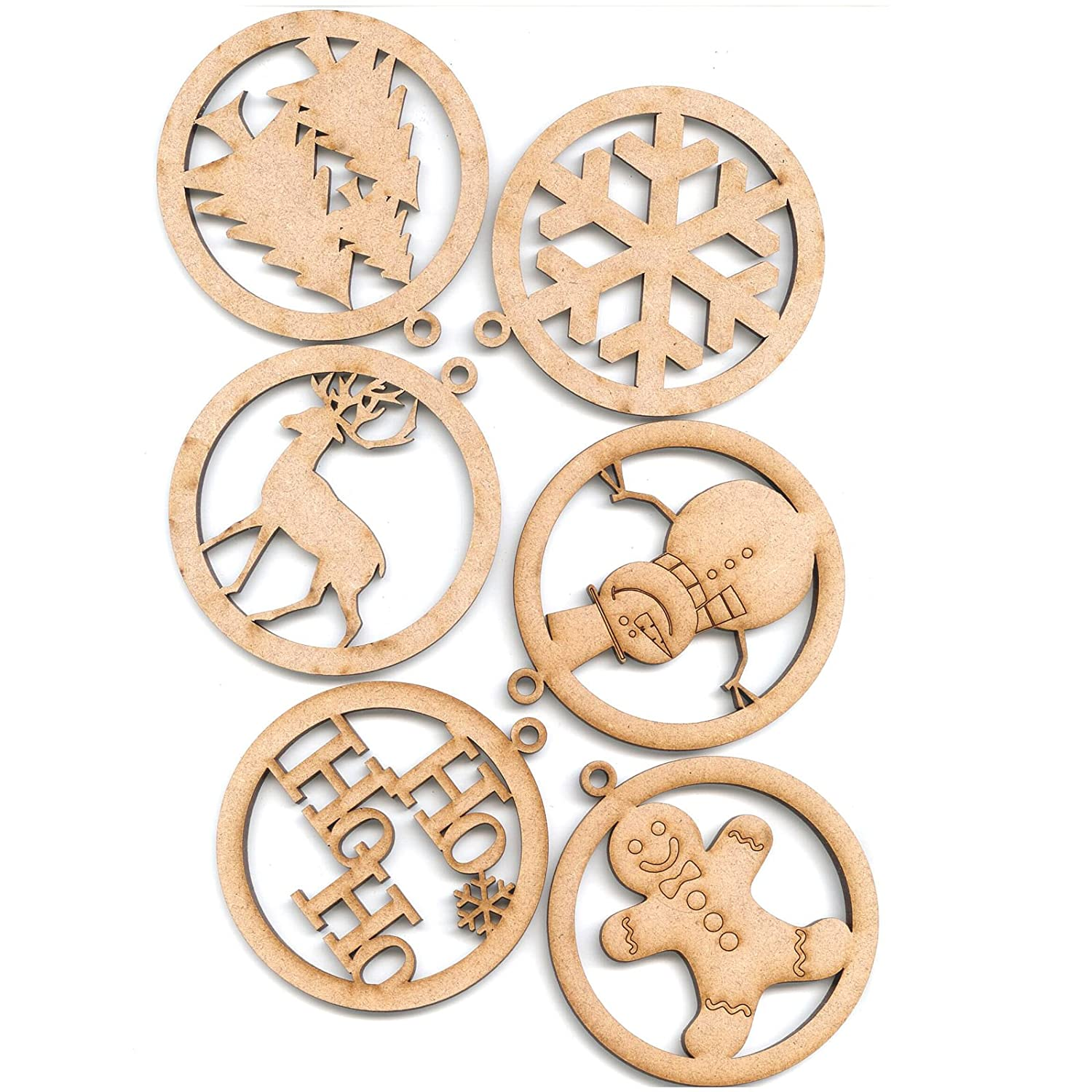 Creative Expressions MDF Shapes Festive Collection ETCHED BAUBLES LARGE pk 6