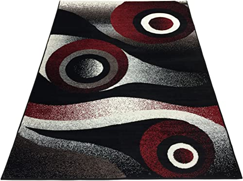 Comfy Collection Abstract Circles Design Area Rug Modern Contemporary Rug 2 Color Options Black, 4 11 X 6 11