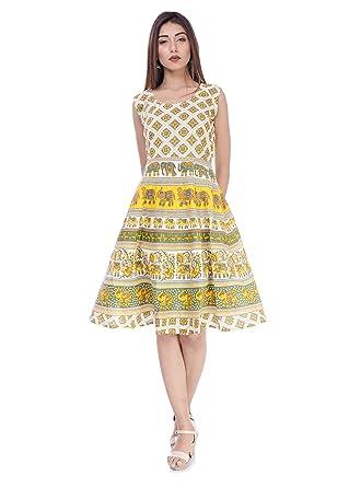 c31f19854bb6 FASHION CLOUD Cotton Printed Short Dress for Women.(Yellow): Amazon ...