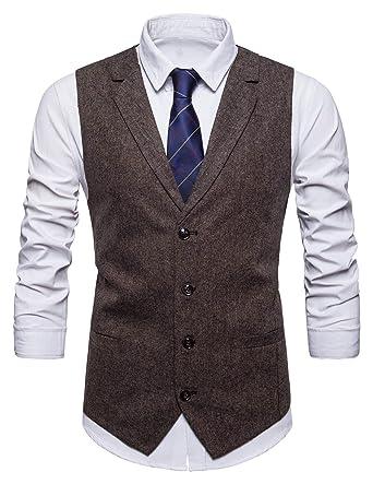 STTLZMC Leisure Gilet Costume Homme Tweed Rétro sans Manches Veste Business  Mariage S-XXXL, 286d83b6e8d8