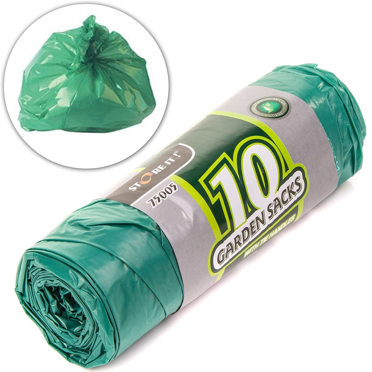 10x Large 80 Litre Gardening Sacks - Tie Handled Refuse/Rubbish/Waste Bin Bags White Hinge
