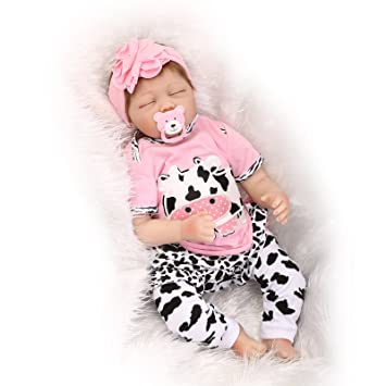 """Pinky Vinyl 22/""""Silicone Reborn Baby Doll Lifelike Real Looking Soft Stuffed Body"""