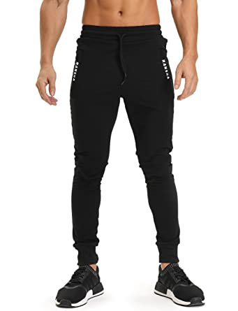 39da0de3a SEEU Men's Fitted Jogger Pants - Casual Gym Fitness Trousers with Zipper  Side Pockets: Amazon.co.uk: Clothing