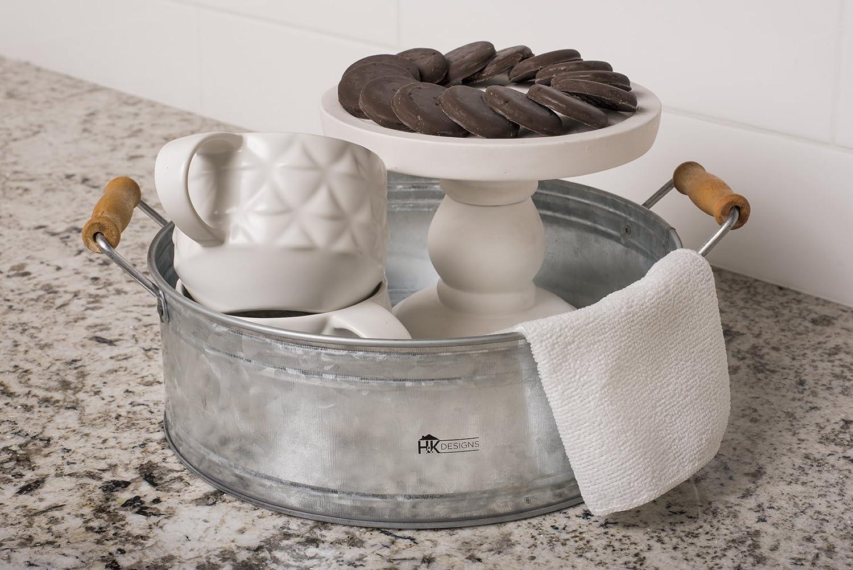 Centro de mesa granja decoración - Ronda cubo de metal con mango de madera para cocina y casa arreglos - rústico bandeja para servir por H + K diseños: ...