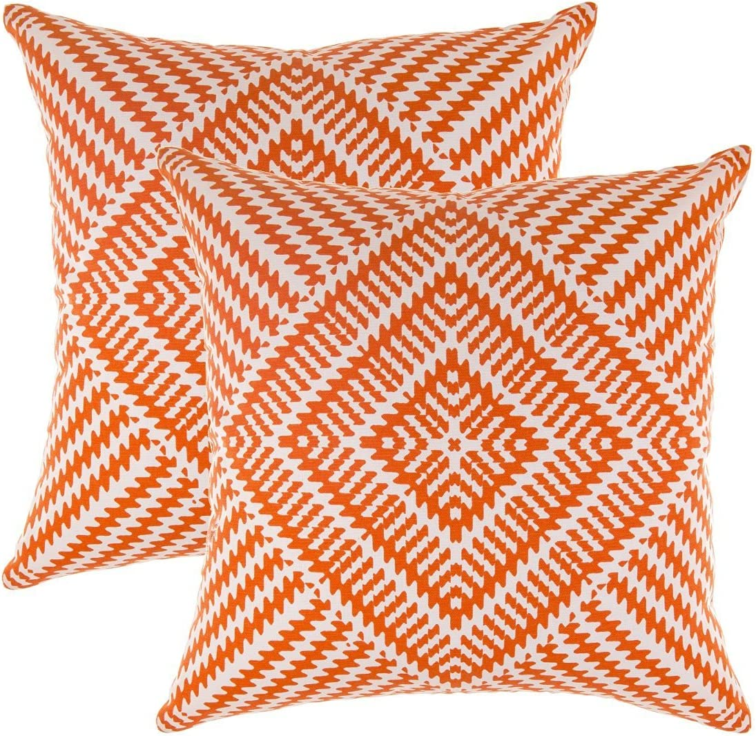TreeWool Decorative Square Throw Pillowcases Set Kaleidoscope Accent 100% Cotton Cushion Cases Pillow Covers (16 x 16 Inches / 40 x 40 cm; Orange & White) - Pack of 2