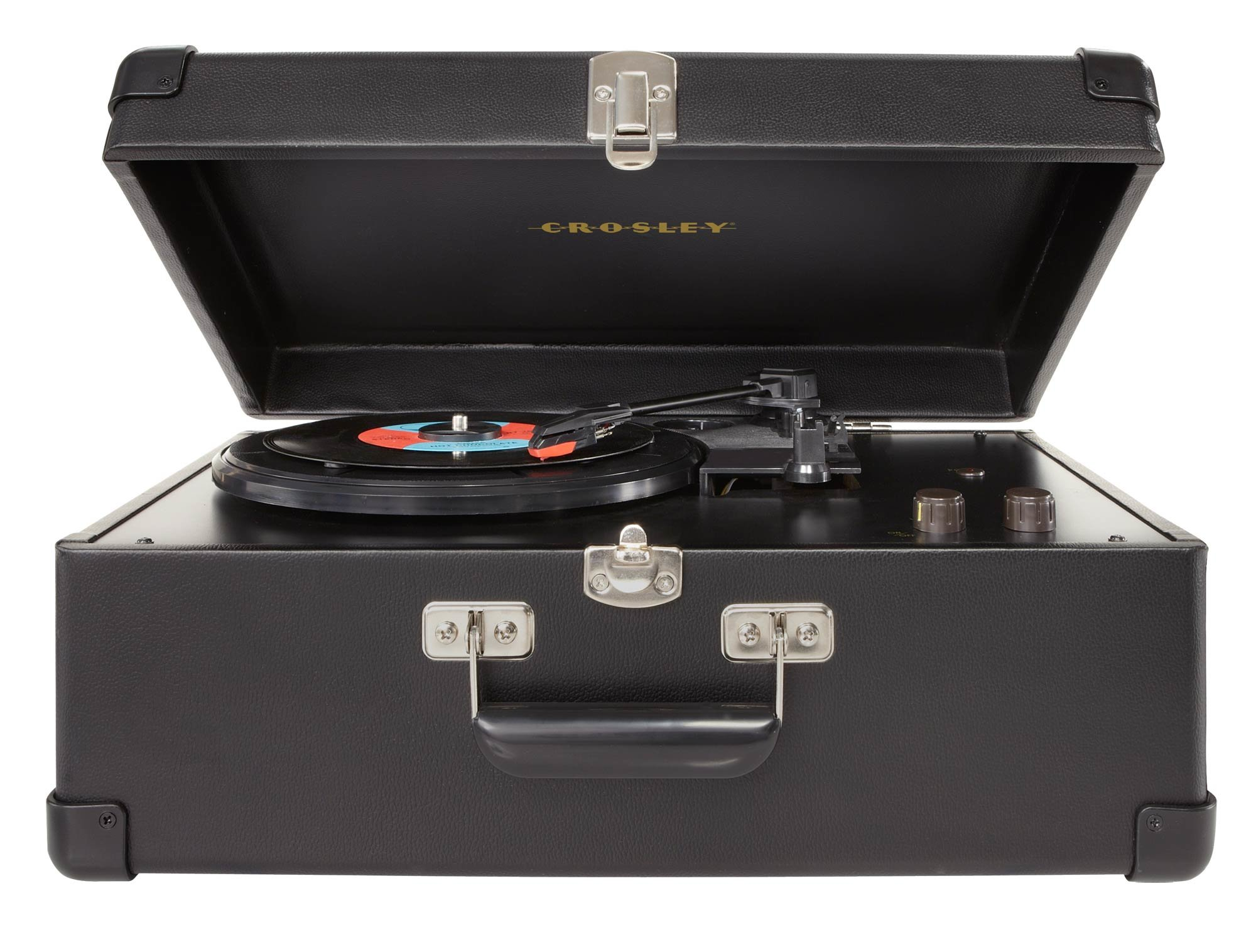 Crosley CR49-BK Traveler Turntable with Stereo Speakers and Adjustable Tone Control, Black by Crosley