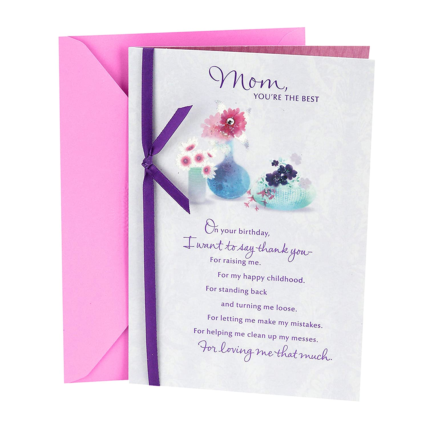 Amazon Hallmark Birthday Greeting Card To Mother Flowers With Vases Office Products