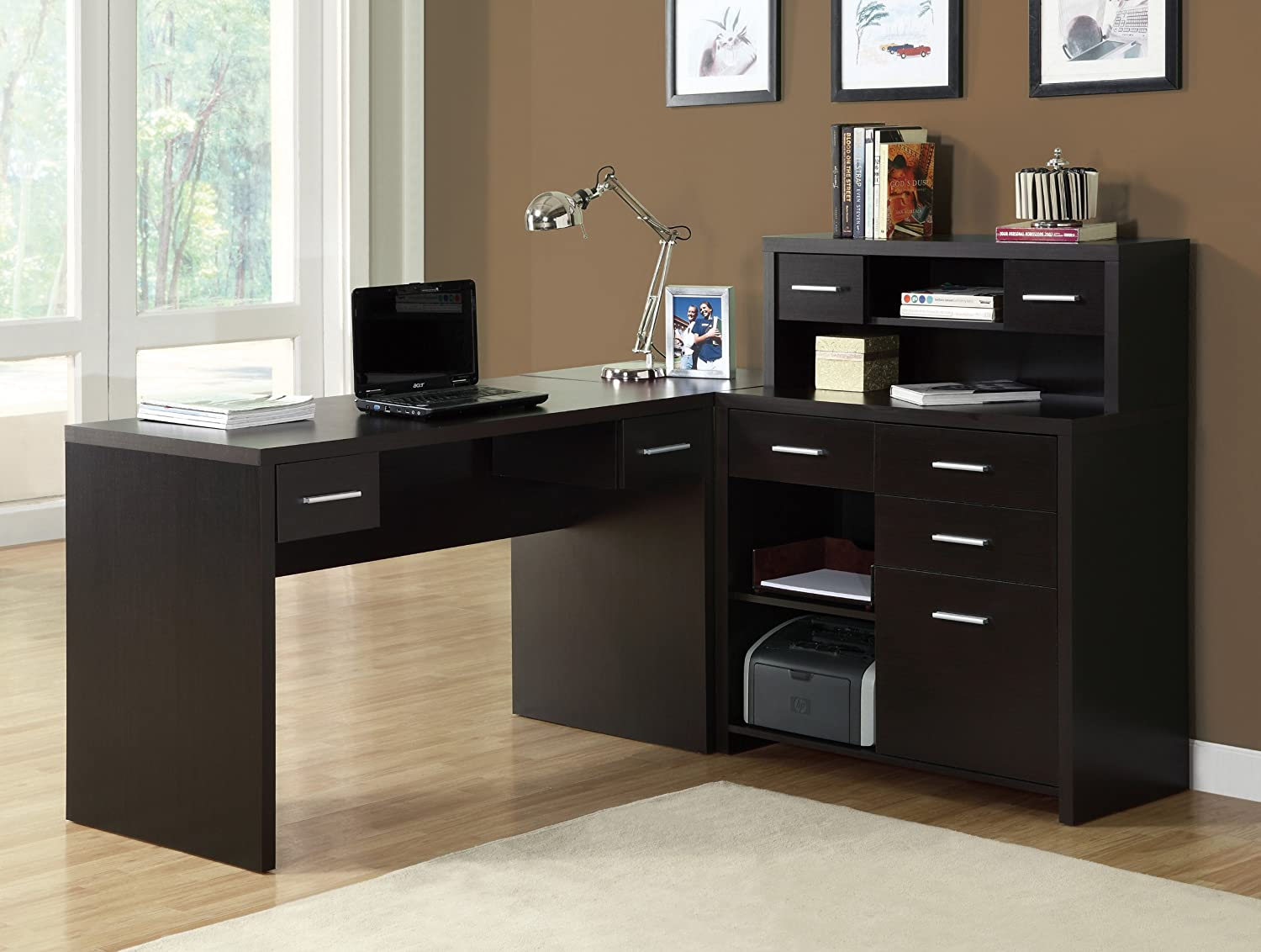 amazoncom monarch specialties hollow core l shaped home office desk cappuccino kitchen dining black office desk office desk