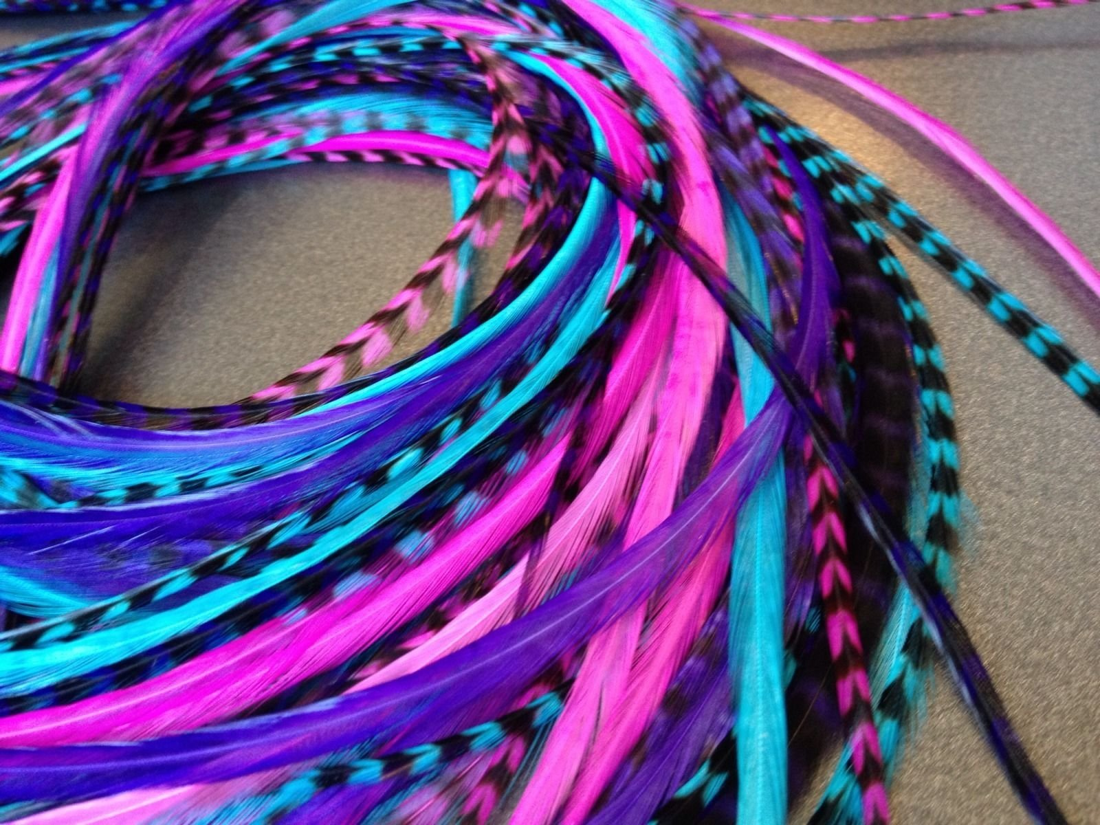 Feather Hair Extensions, 100% Real Rooster Feathers, Long Pink, Purple, Blue Colors, 20 Feathers with Bonus FREE Beads and Loop Tool Kit by Feather Lily (Image #3)