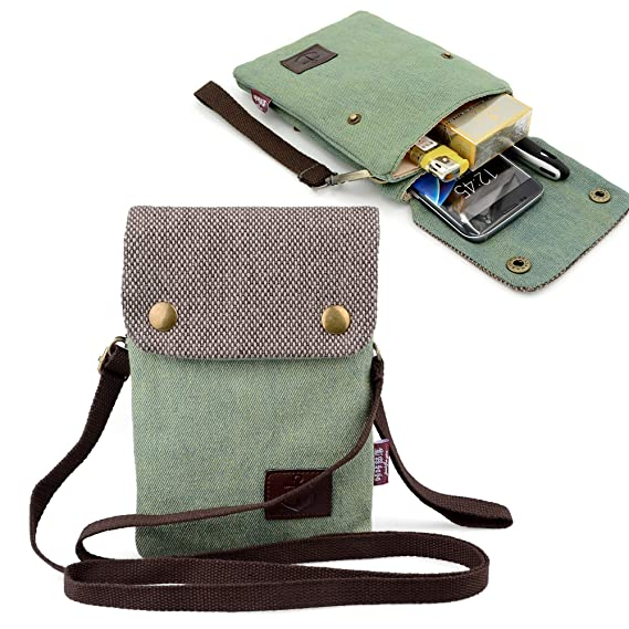 2591bae3cad708 Gcepls Canvas Small Cute Crossbody Women Cell Phone Purse Wallet Bag with Shoulder  Strap for iPhone