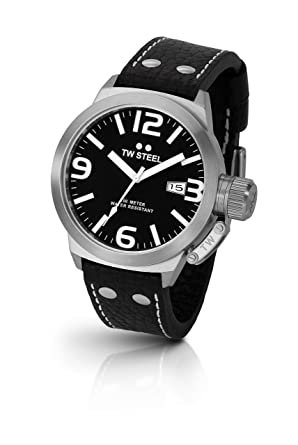 ab50ca65a26a Amazon.com  TW Steel Men s TW2 Canteen Black Leather Black Dial ...
