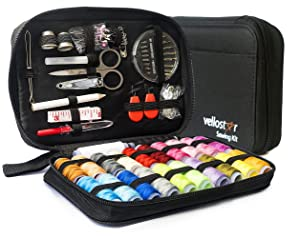 Sewing KIT Premium Repair Set - Over 100 Supplies & 24-Color Threads & Needles | Portable Mini Mending Button Travel Sew Kits, Sowing Accessories Easy to Use for Adults & Beginners