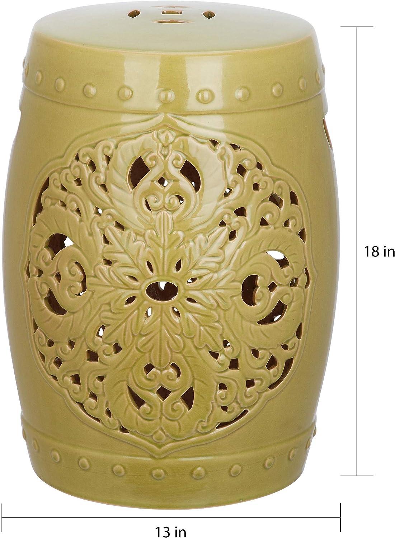 Spring Green Garden Stool 13 X 17.5 Oriental Ceramic