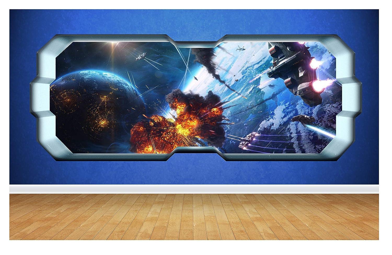 Large: 80cm x 58cm Thorpe Signs Star Wars Battlefront 3D Style smashed wall sticker kids children bedroom vinyl