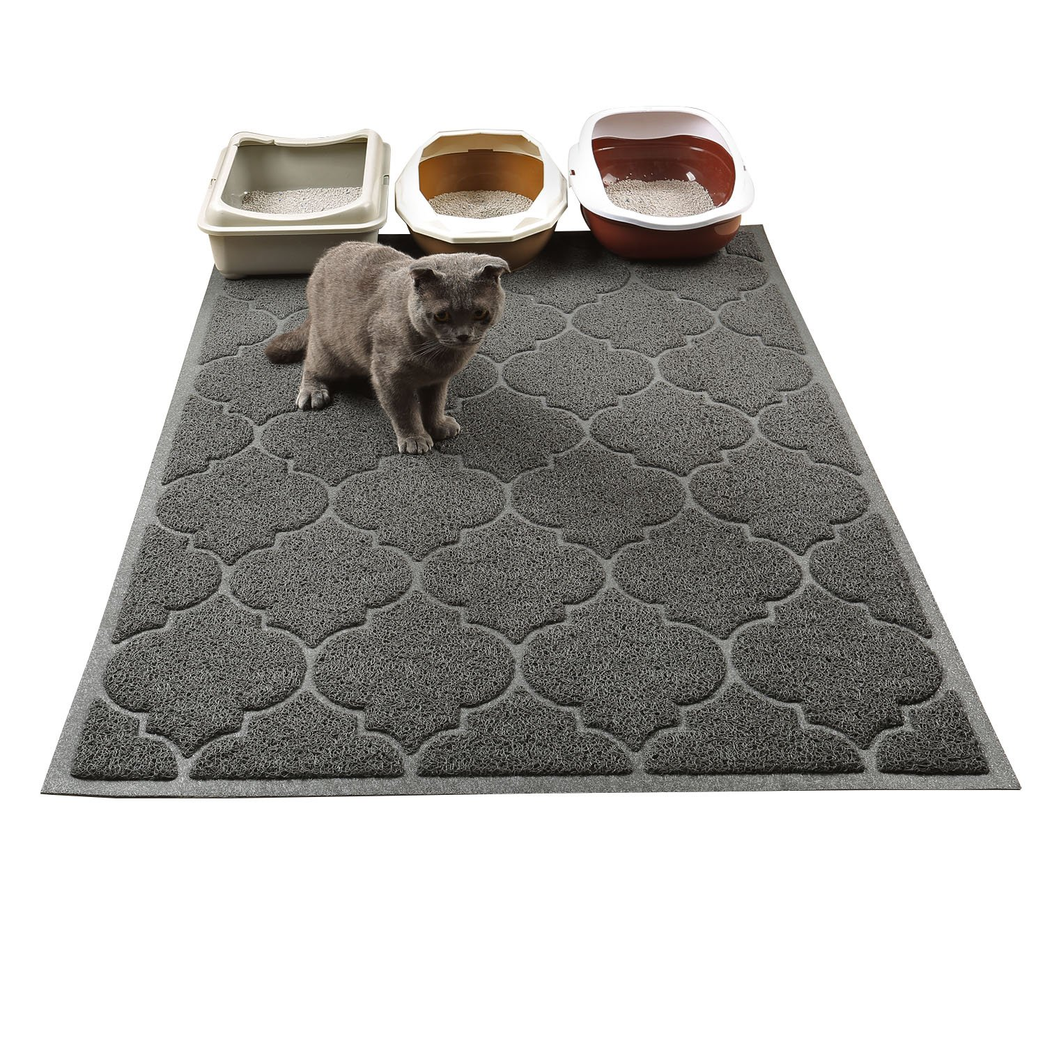 Cat Litter Mat, XL Super Size, Phthalate Free, Easy to Clean, Durable, Soft on Paws, Large 47'' x 36'' litter mat.