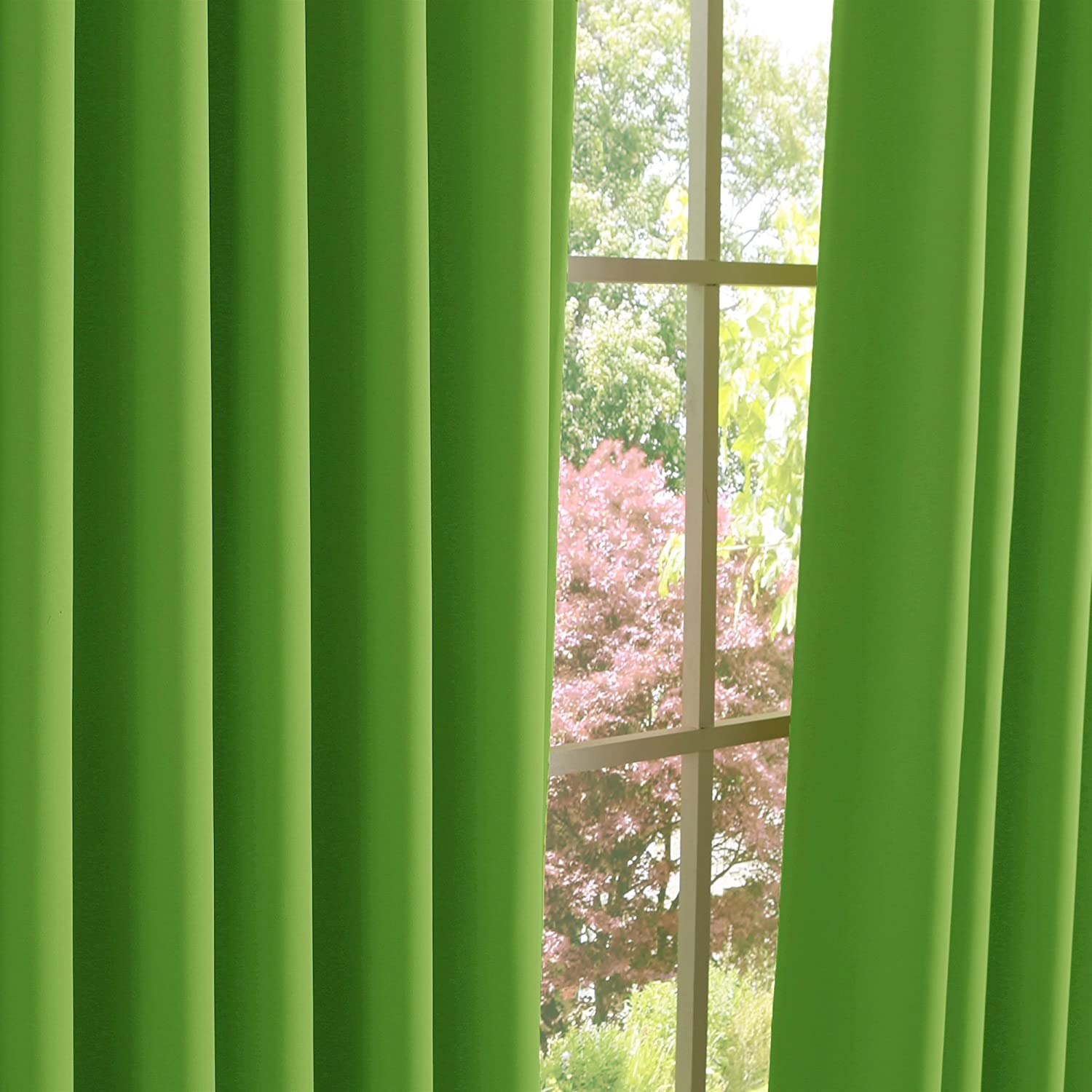 Best Home Fashion Wide Width Thermal Insulated Blackout Curtain - Antique Bronze Grommet Top - Green