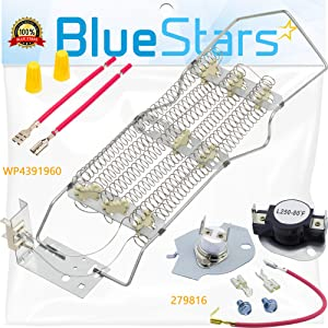 WP4391960 & 279816 Dryer Heating Element with Dryer Thermostat Kit by Blue Stars - Exact Fit for Whirlpool & Kenmore Dryers