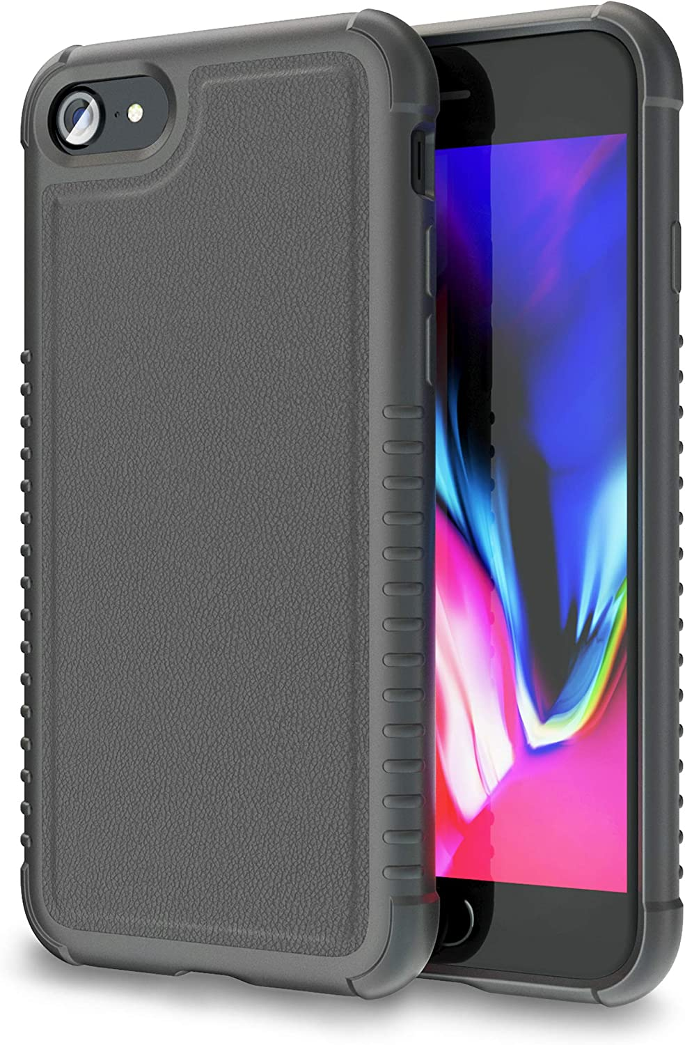ORASE Stylish Armor Cases Designed for iPhone 7 Case, for iPhone 8 Case, for iPhone SE 2020 [Vegan Leather] [Military Grade Protection] Phone Case with Tactile Grip & AirBags (Jet Black)