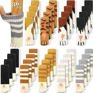 36 Pieces (9 Sets) Cat Furniture Socks Cat Paw Chair Leg Socks Knitted Furniture Socks Non Slip Chair Table Leg Floor Protectors Elastic Furniture Socks Pads for Interesting Christmas Decoration