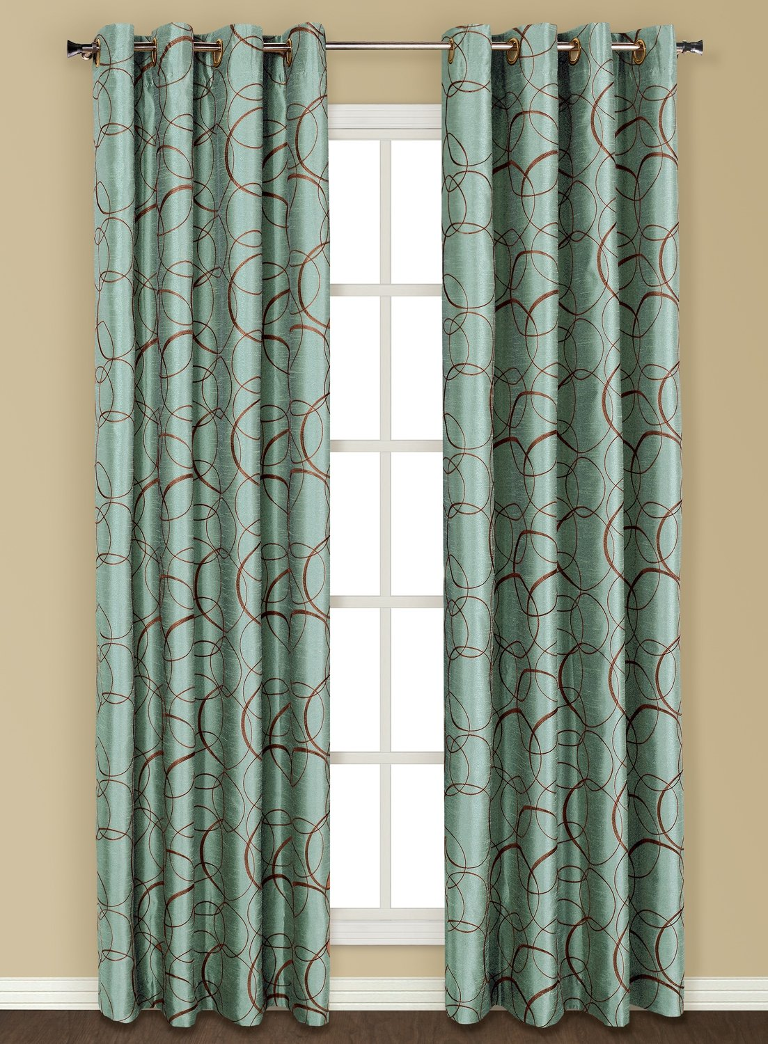 United Curtain Sinclair Embroidered Window Curtain Panel, 54 by 84-Inch, Blue