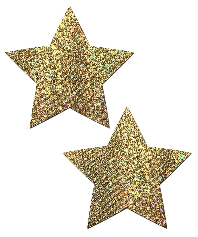 Pastease Women's Rockstar: Gold Glitter Star Nipple Pasties o/s STR-GLT-GL