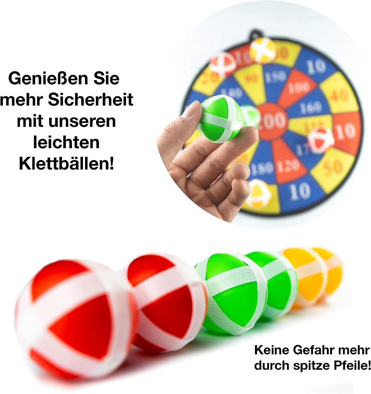 inkl simpleheroes Kinder Dartscheibe KlettSpielzeugTrinkspiel 6 Bällen