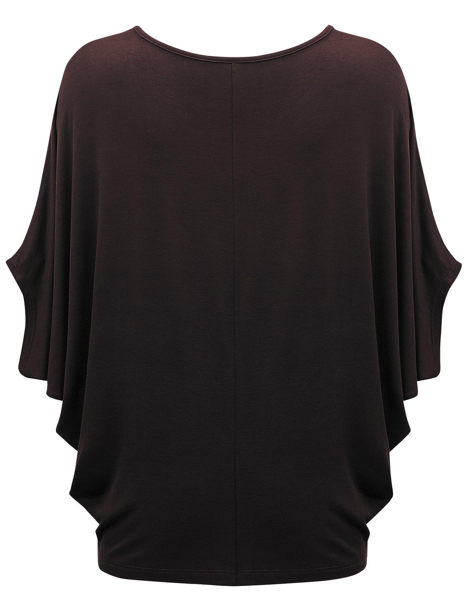 WT1073 Womens Scoop Neck Half Sleeve Batwing Dolman Top S BROWN by Lock and Love (Image #2)