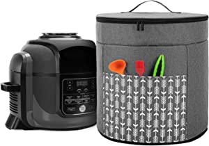 Yarwo Pressure Cooker Cover Compatible with Ninja Foodi 8 Quart Pressure Cooker, Double Layers Dust Cover with Top Handle and Pocket, Gray with Arrow