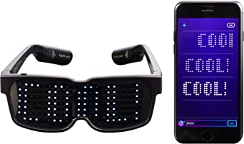 CHEMION - Customizable Bluetooth LED Glasses for Halloween, Raves, Festivals, Fun, Parties, Sports, Costumes, EDM, Flashing - Display Messages, Animation, Drawings!
